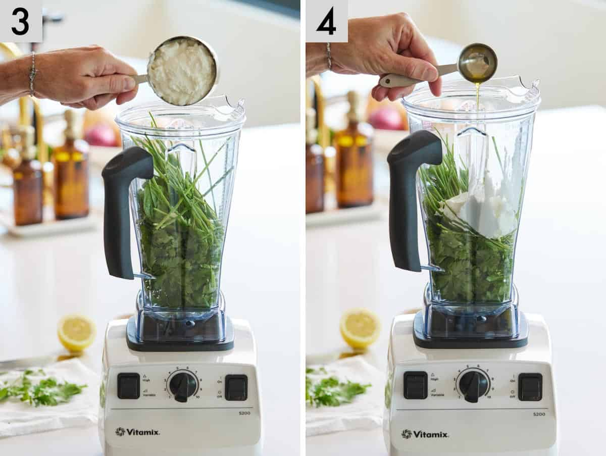 Set of two photos showing Greek yogurt and then olive oil added to the blender.