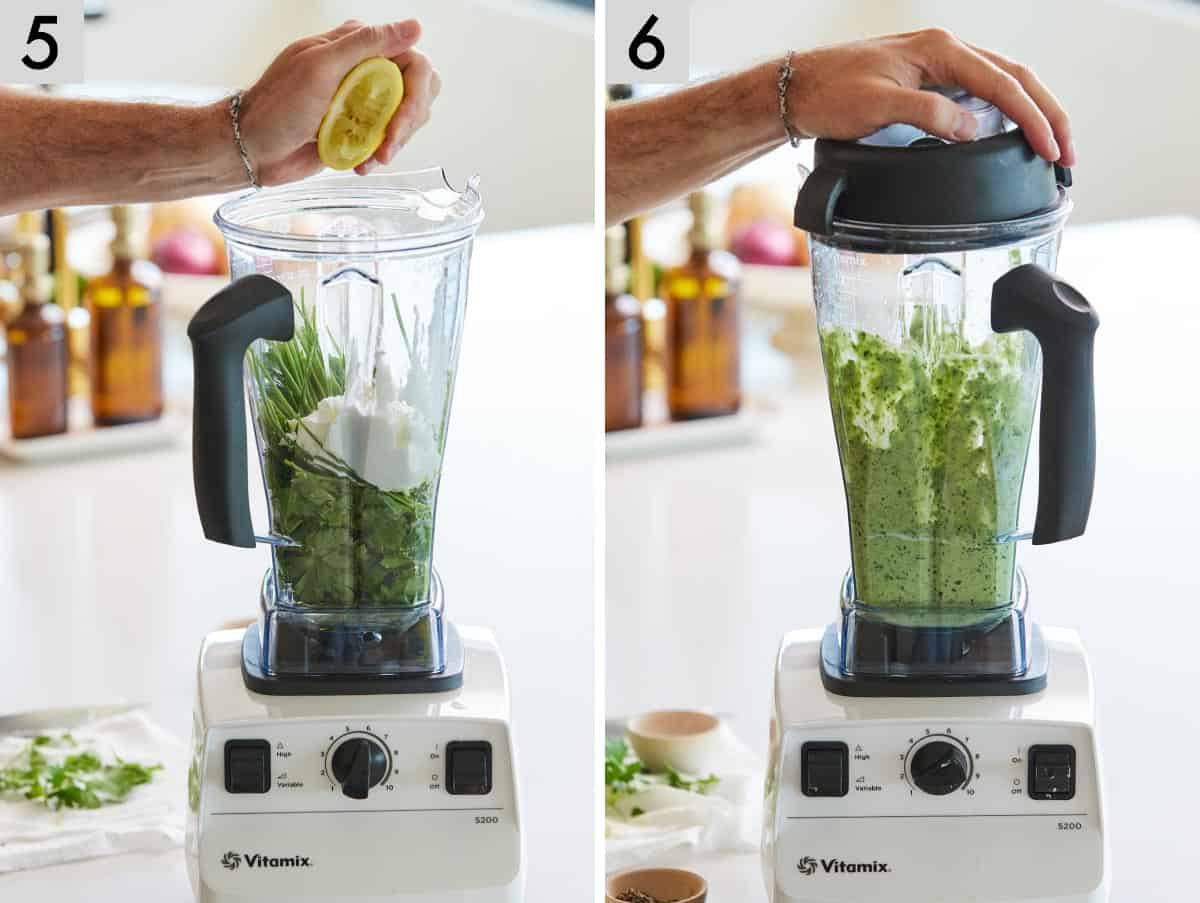 Set of two photos showing lemon being juiced into the blender before blending.