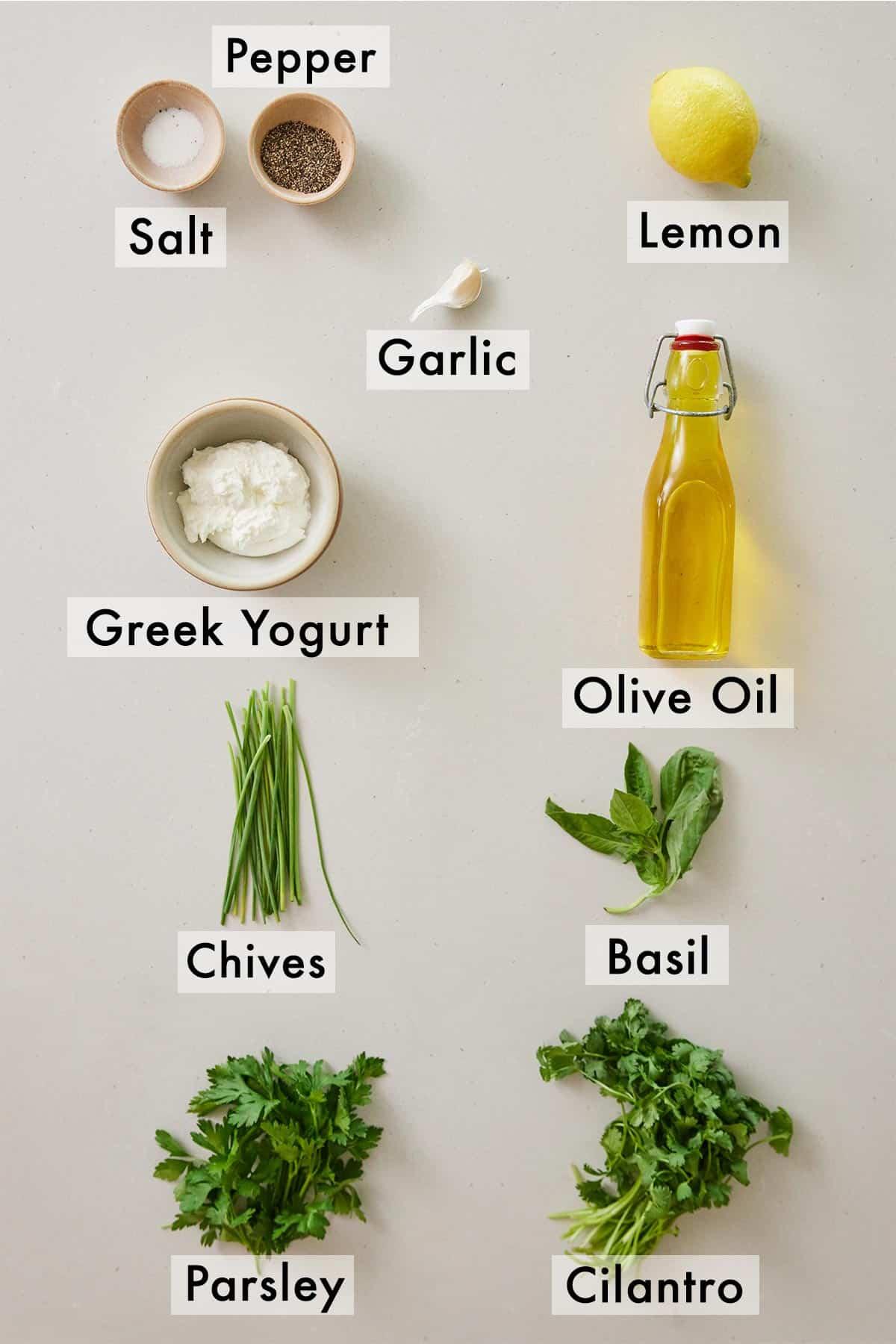 Ingredients needed to make green goddess dressing.