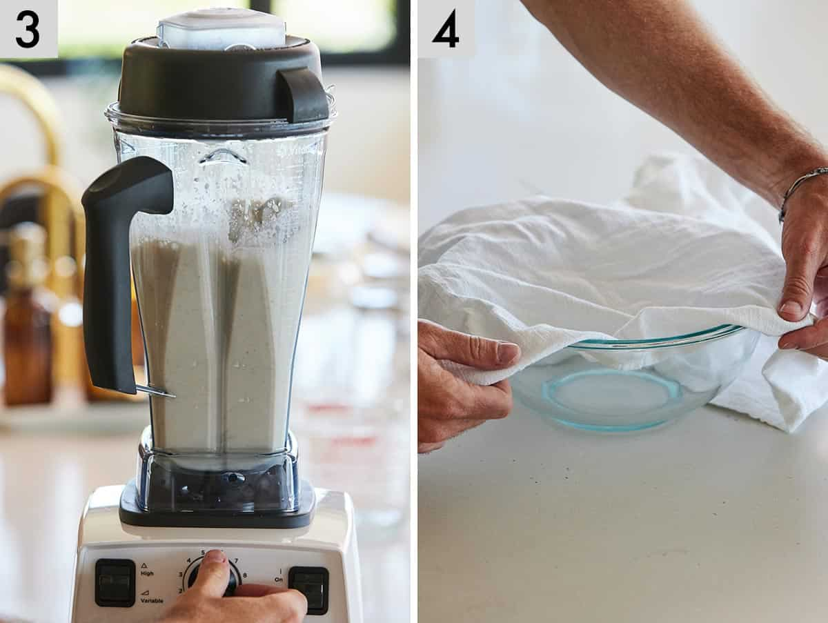 set of two photos showing a blender blending the water and oats then preparing a bowl with a straining cloth.