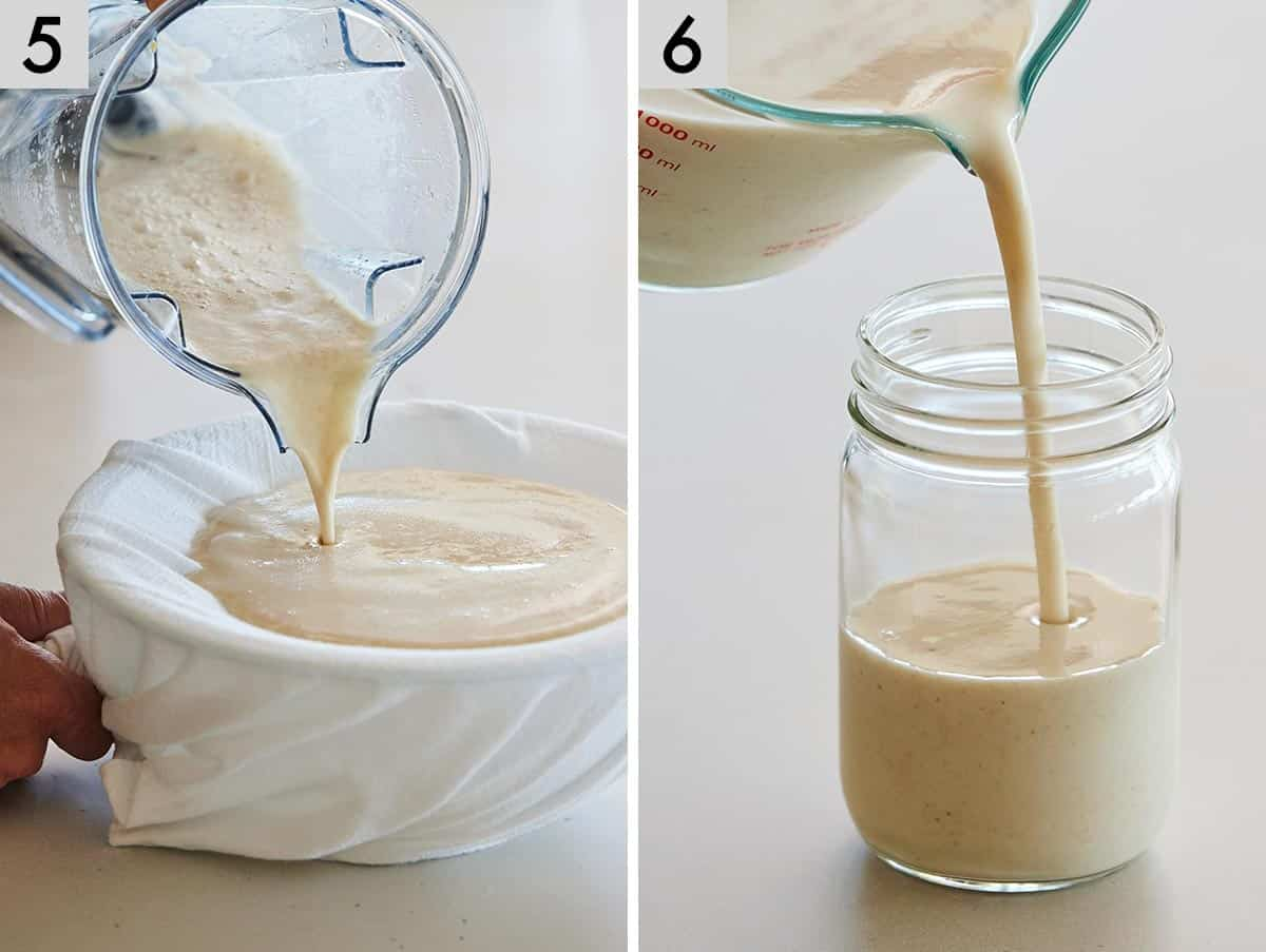 Set of two photos showing the oat milk being strained through the bag and then poured into a mason jar.