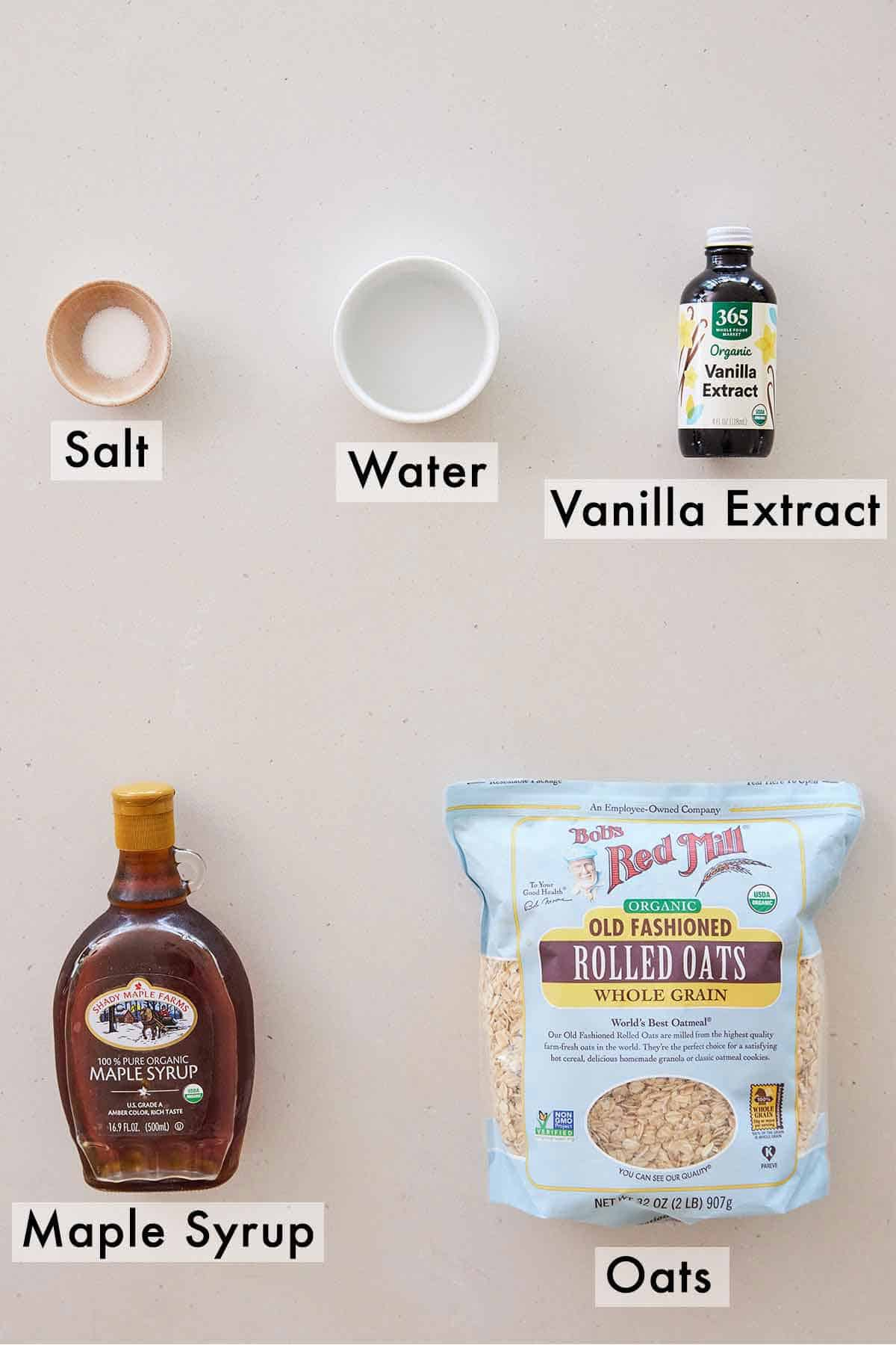 Ingredients needed to make oat milk.
