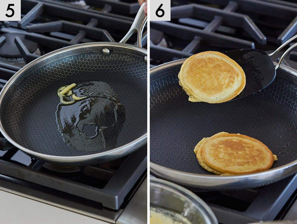 Set of two photos showing melting ghee in a skillet and then a pancake being flipped over.