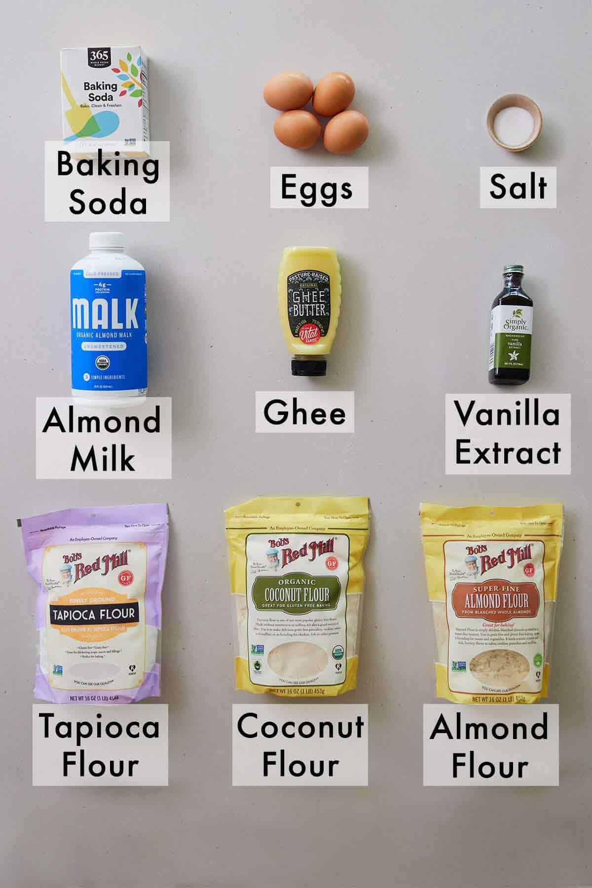 Ingredients needed for paleo pancakes.