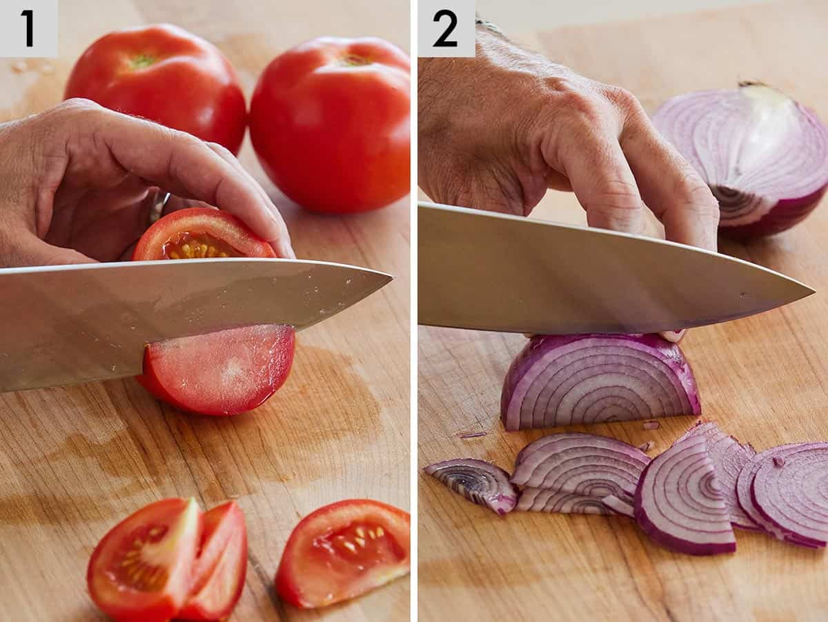 Set of two photos showing tomatoes then red onions being cut.