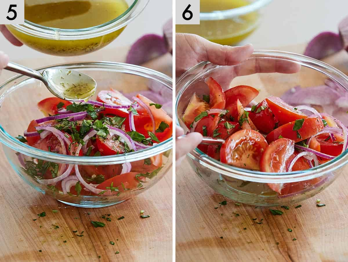 Set of two photos showing red wine vinaigrette added to a salad then tossed together.