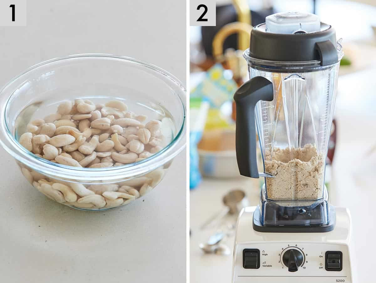 Set of two photos showing cashews being soaked and then oats, almonds, sugar, and salt blended in a blender.