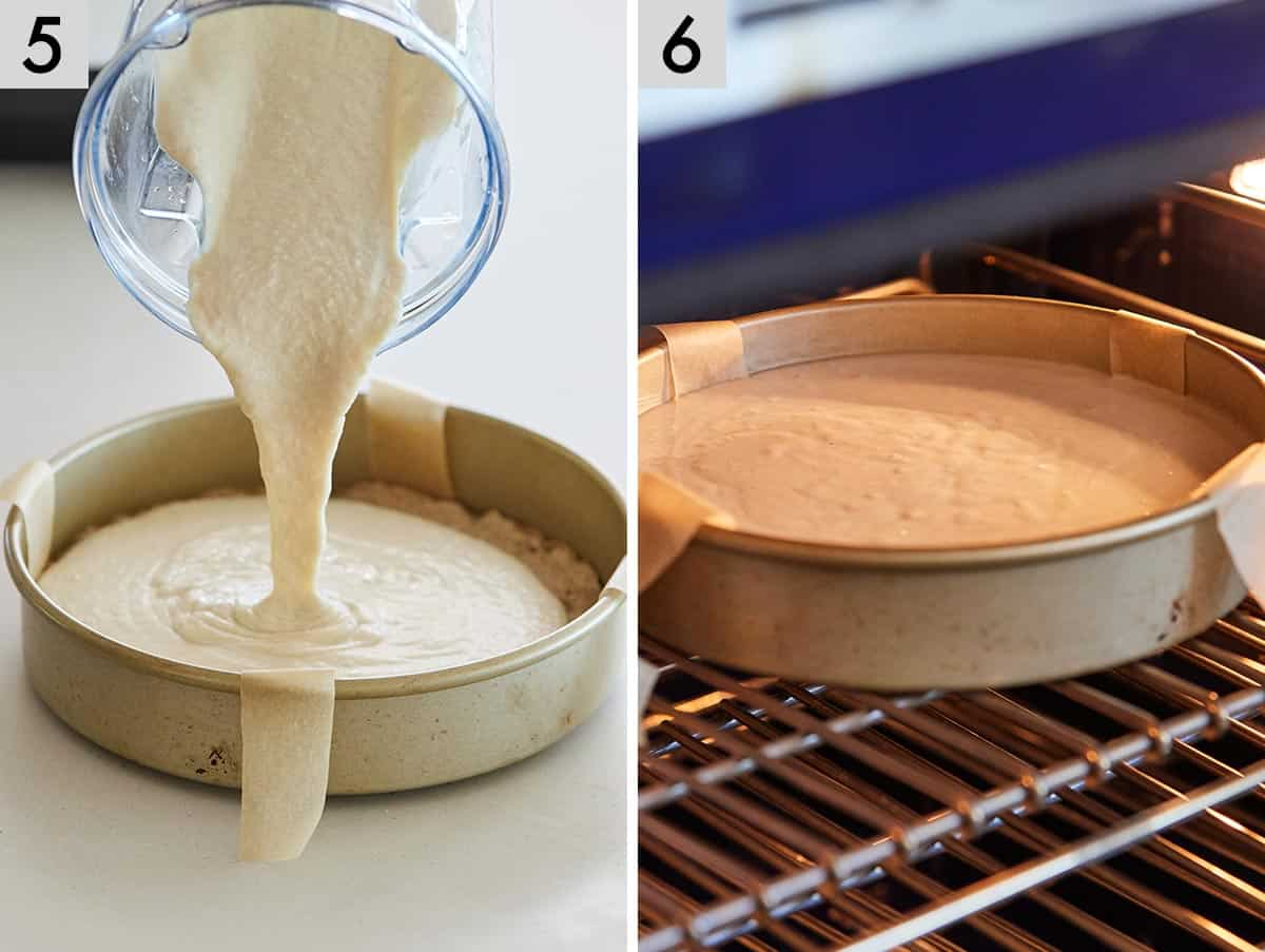Set of two photos showing filling added on top of the crust in the pan and then baked.