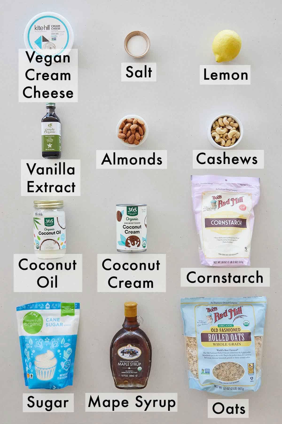 Ingredients needed to make vegan cheesecake.