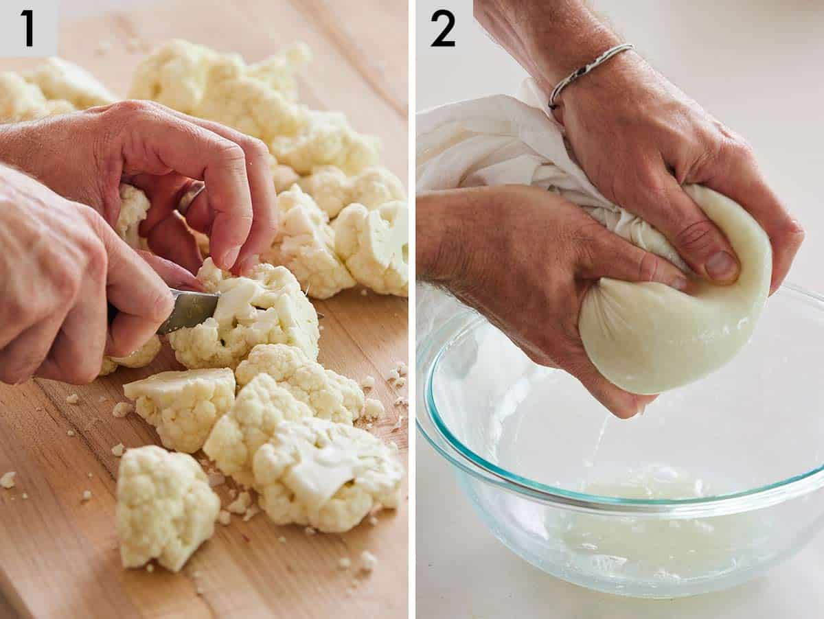 Set of two photos showing cauliflower cut into florets. Second photos showing liquid being squeezed out of a cheesecloth containing riced cauliflower.