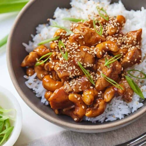 A bowl of rice with cashew chicken with green onion and sesame seeds as garnish.