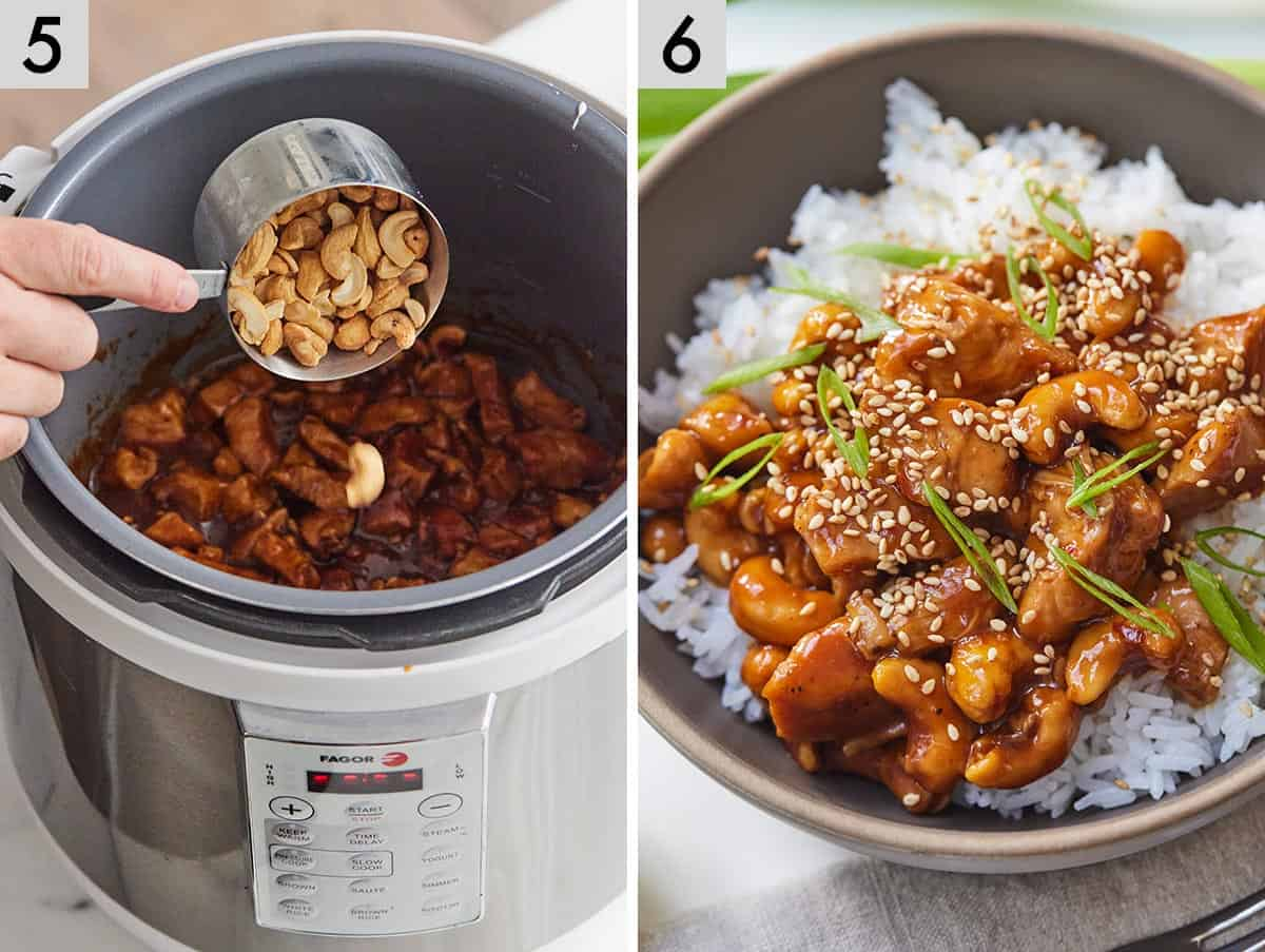 Set of two photos showing cashews added to the liner then cashew chicken plated in a bowl of rice.