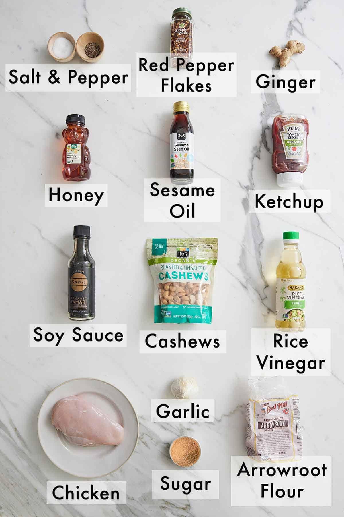 Ingredients needed to make Instant Pot cashew chicken.