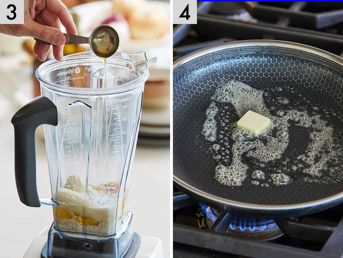 Set of two photos, first is showing eggs, banana, and maple syrup added into the blender. Second image is of butter added to a pan.