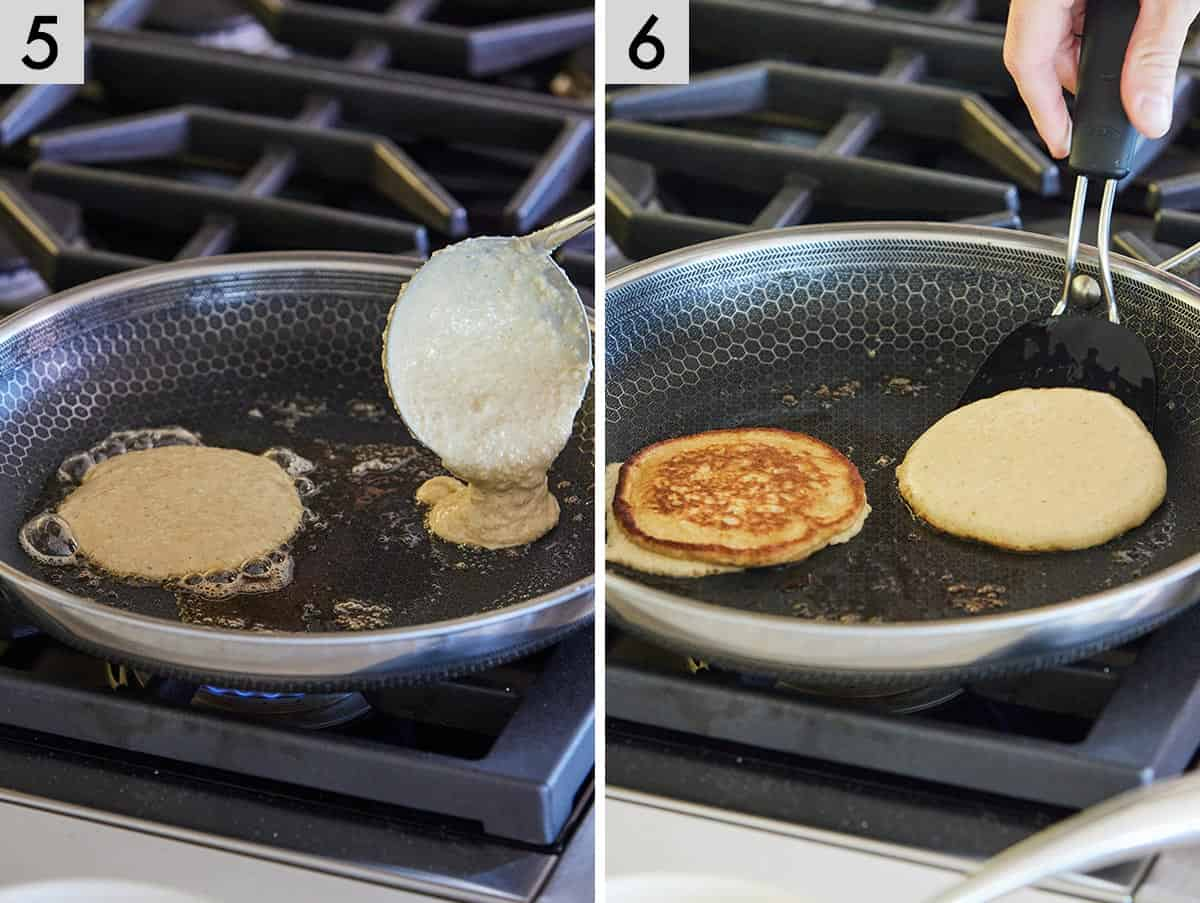 Set of two photos showing batter added to the pan and then flipped.