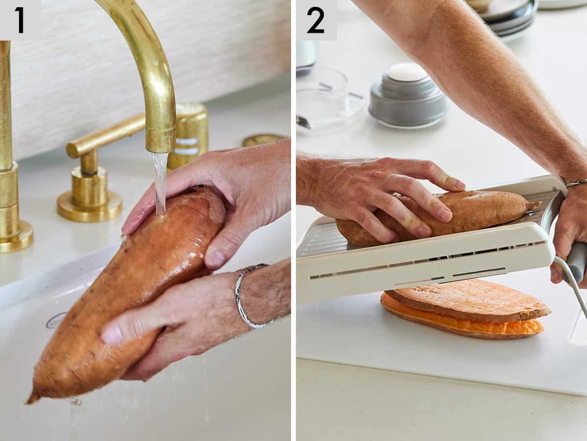 Set of two photos showing sweet potatoes being washed and sliced on a mandoline slicer.
