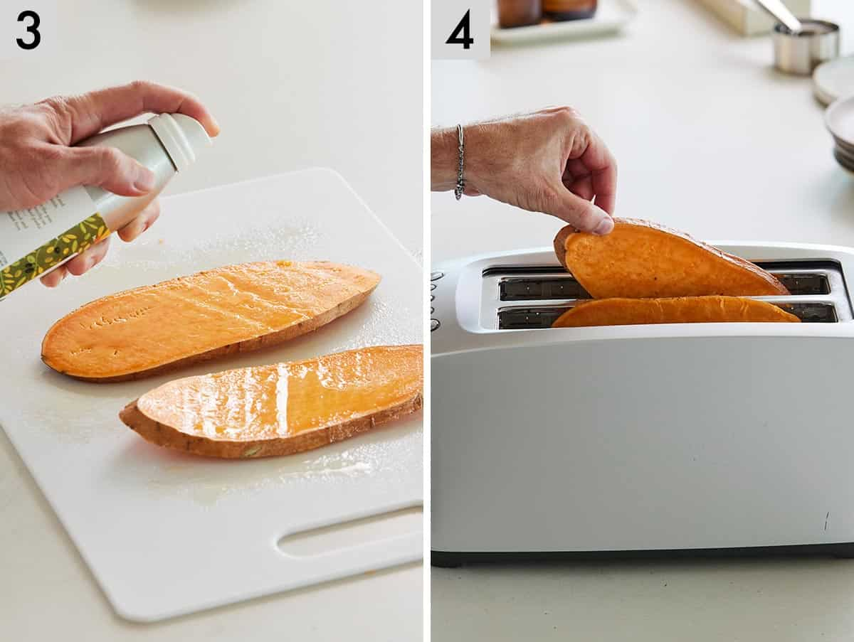 Set of two photos showing olive oil added to the slices and then placed into a toaster.
