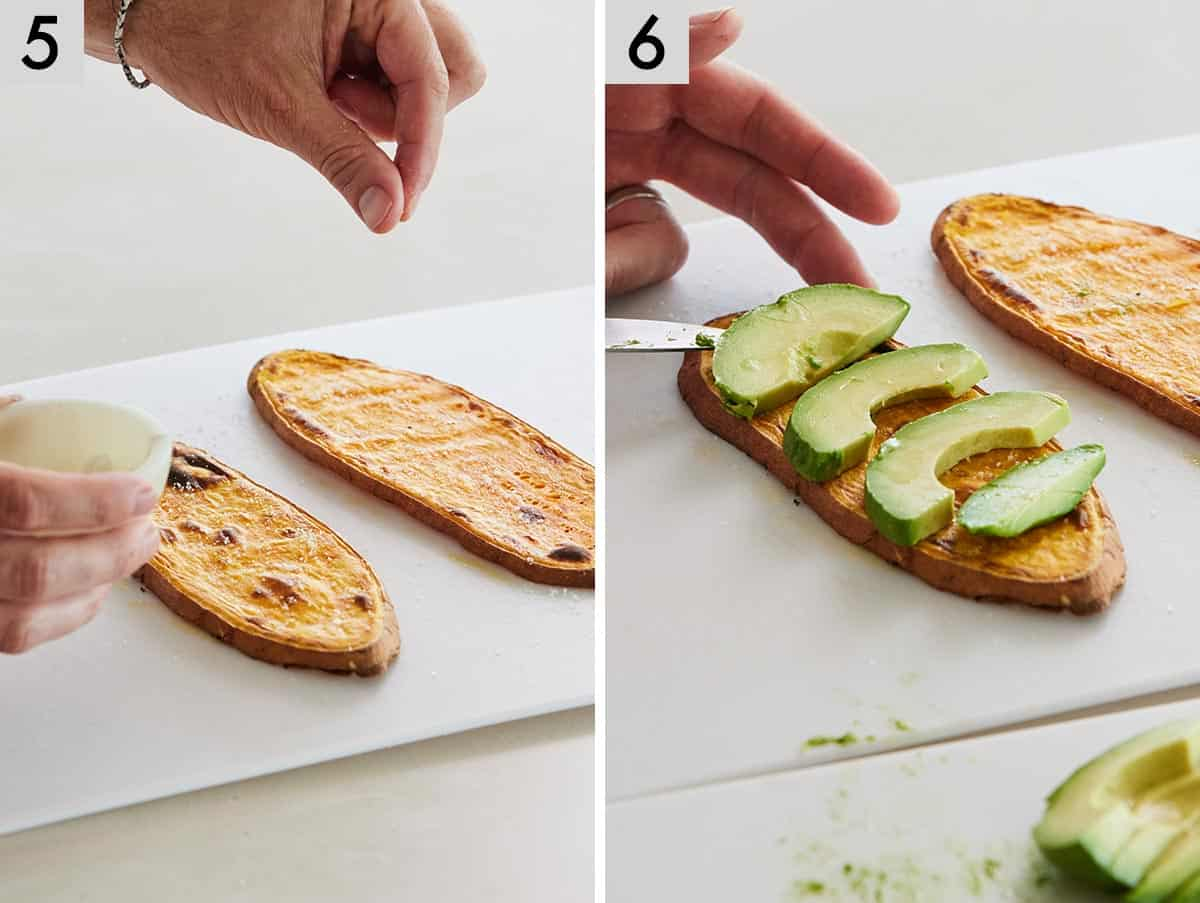 Set of two photos showing sweet potato slices being seasoned and then avocado slices added on top.