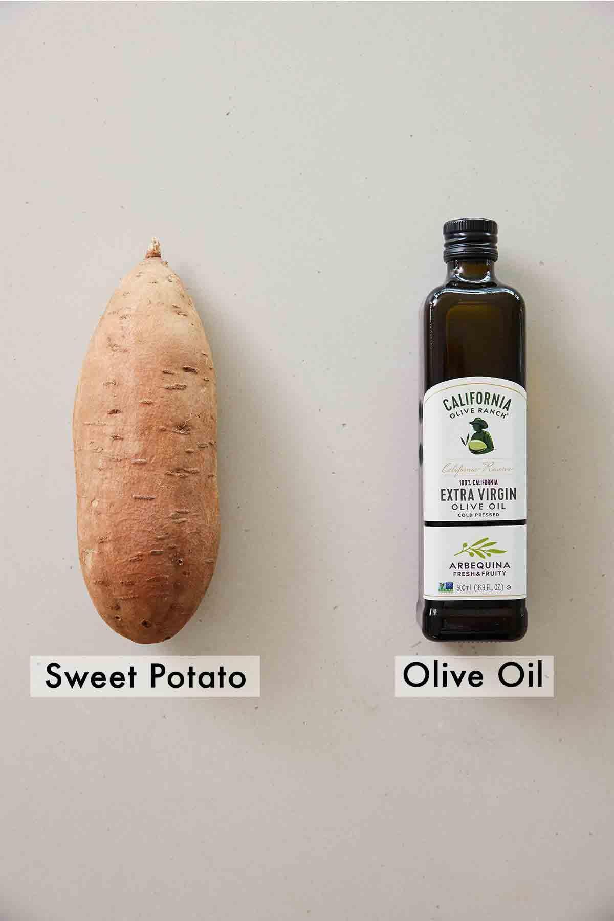 Ingredients needed to make sweet potato toast.