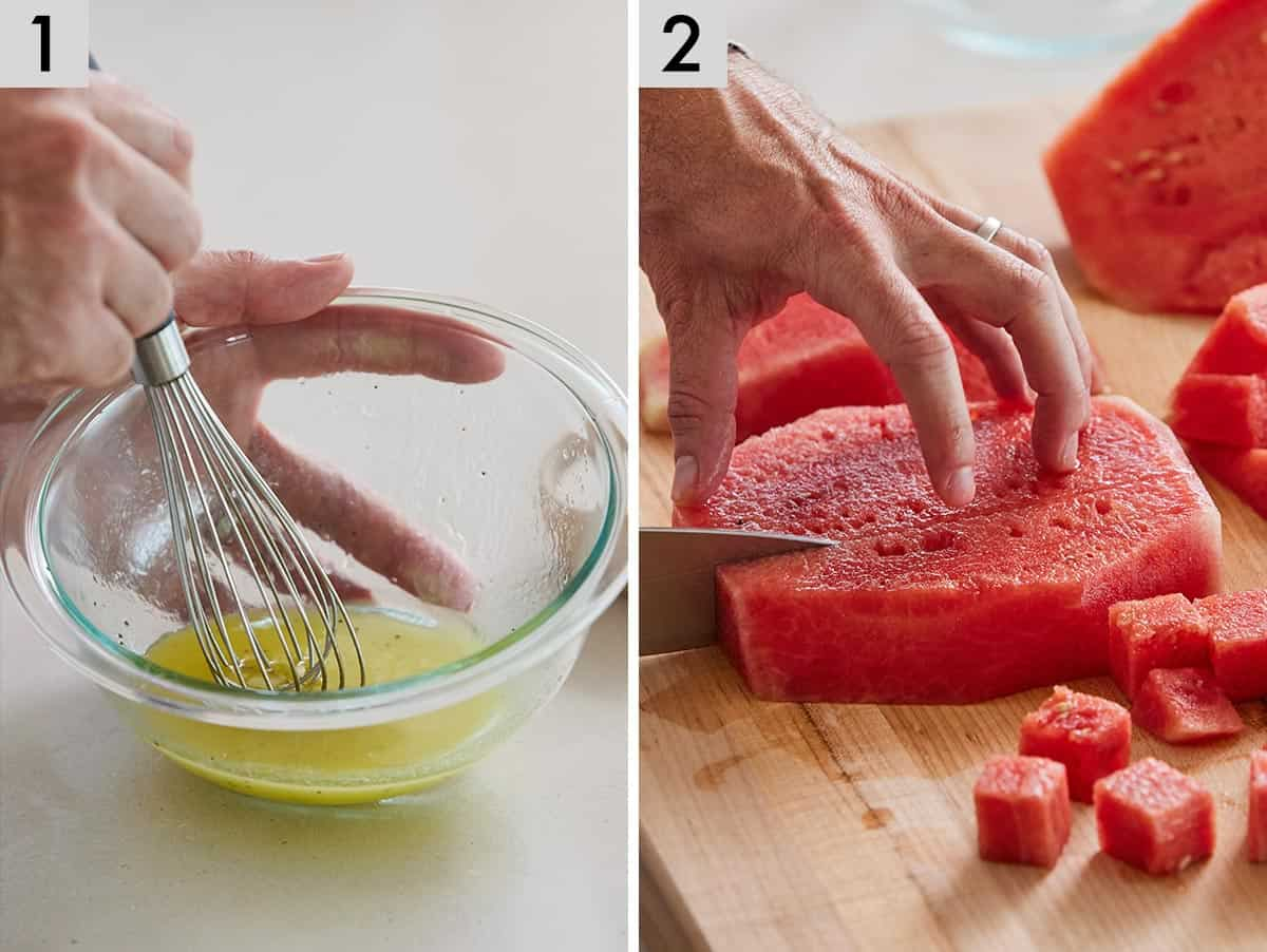Set of two photos showing dressing being whisked together and watermelon being cut into cubes.