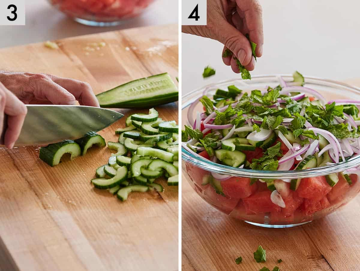 Set of two photos showing cucumbers being sliced and ingredients added to a large bowl.