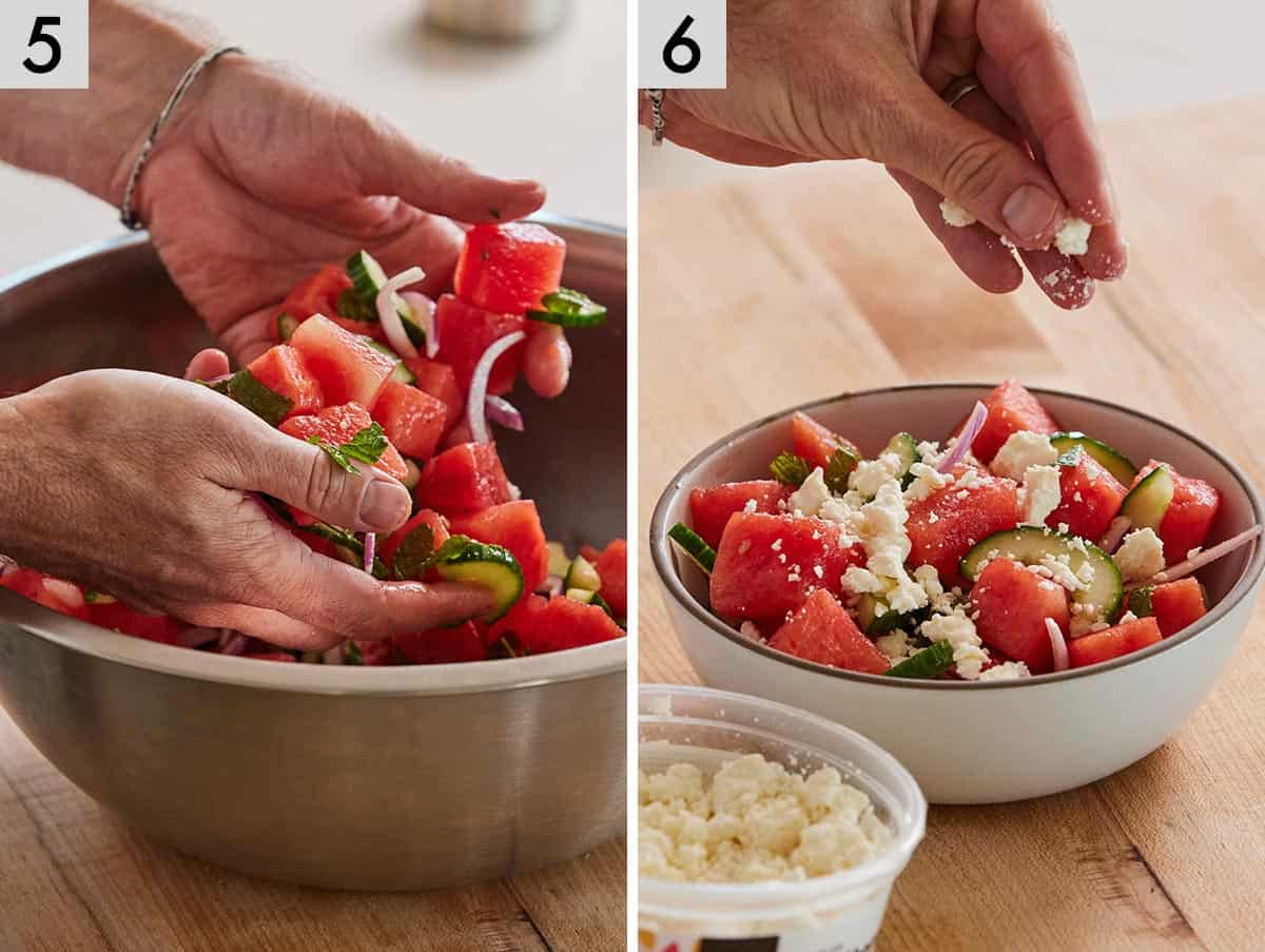Set of two photos showing ingredients being tossed together by hand and then topped with feta cheese.